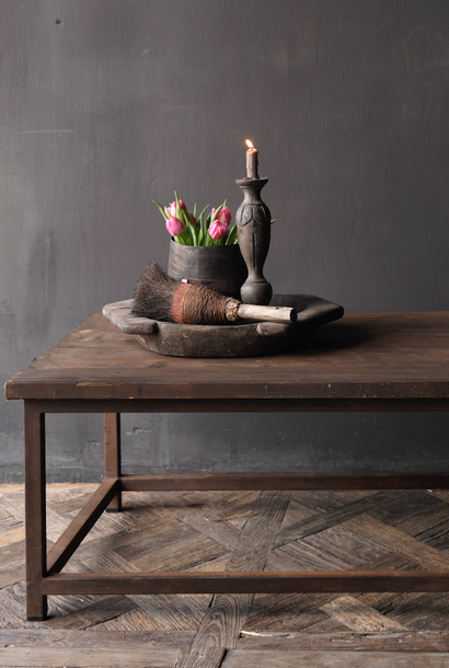 Dark wooden Coffee table with iron rusty base