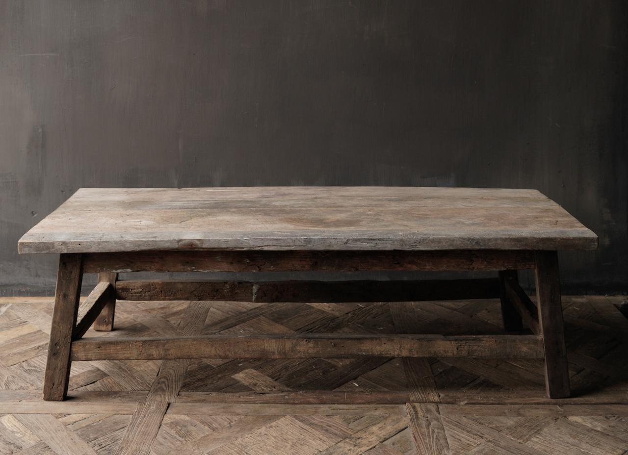 Salontafel gemaakt in India van oud gebruikt hout-4