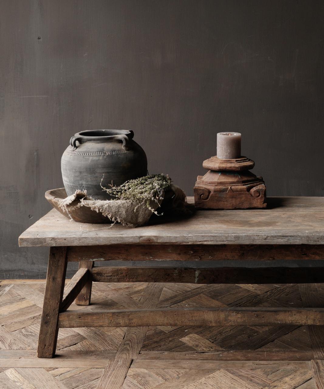 Salontafel gemaakt in India van oud gebruikt hout-1