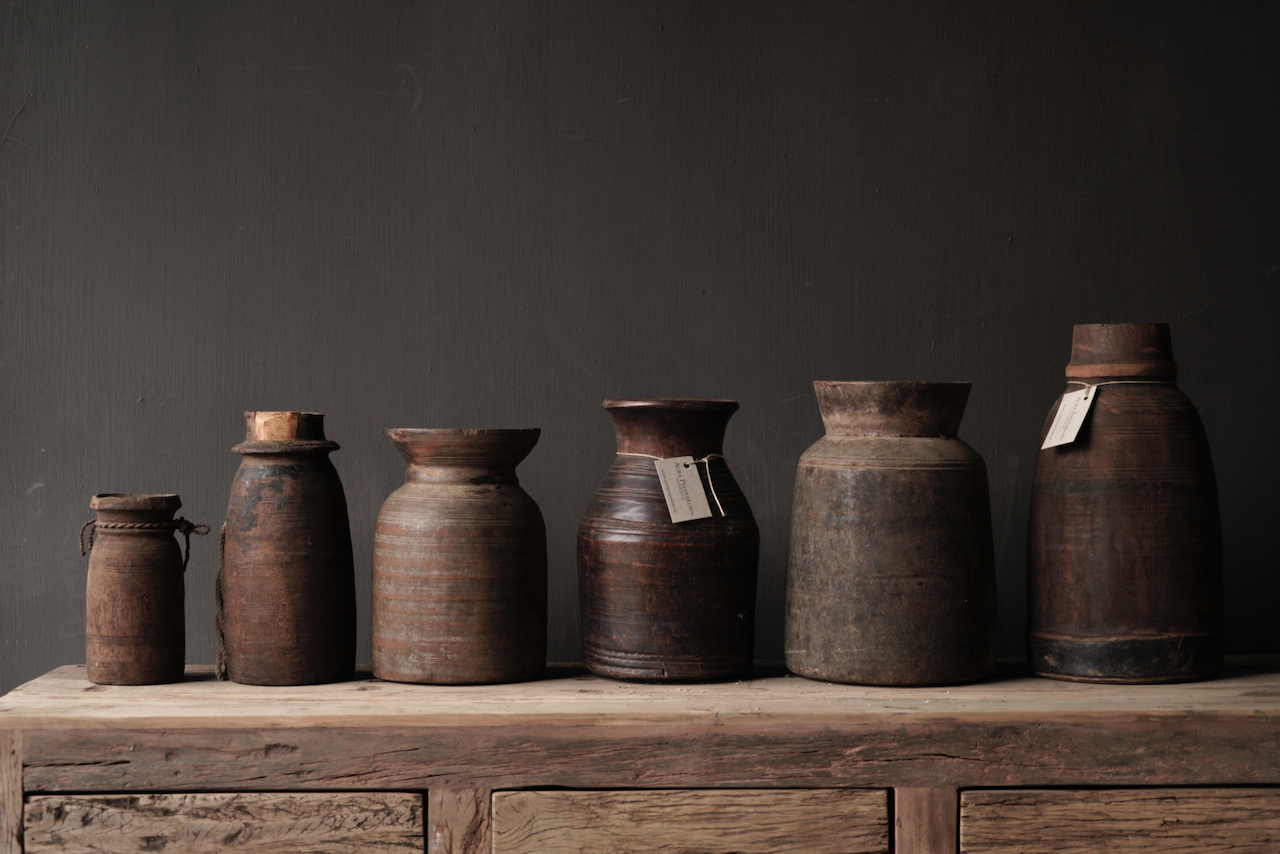Original Old wooden Nepalese Jug from-3