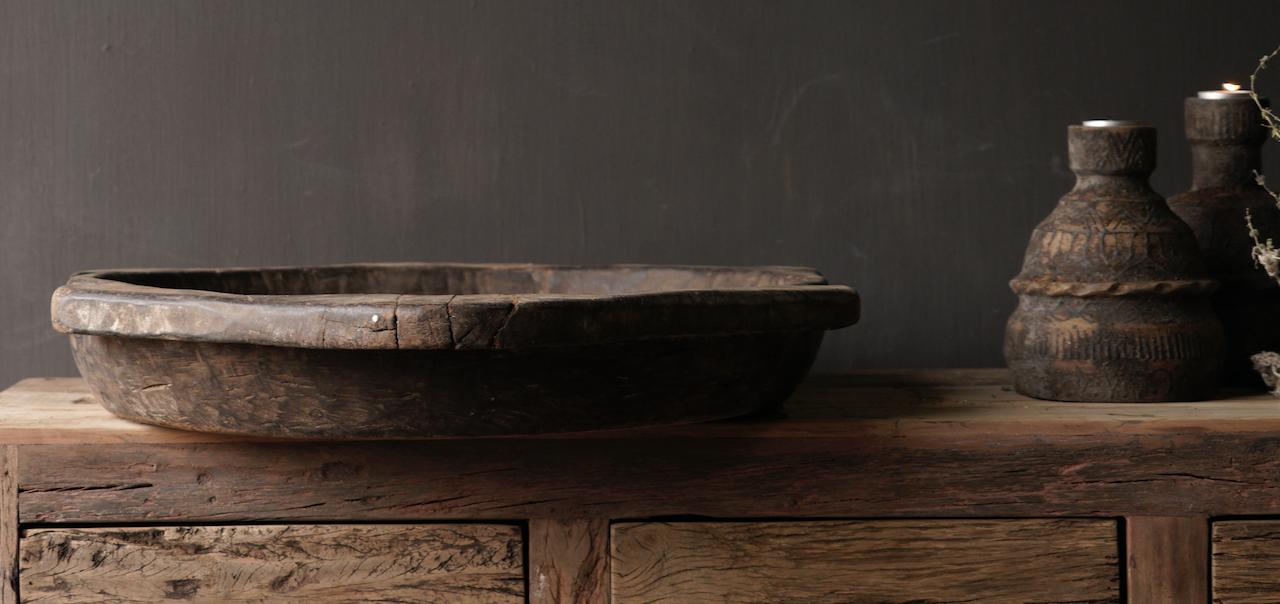 Oude Authentieke houten schaal-4