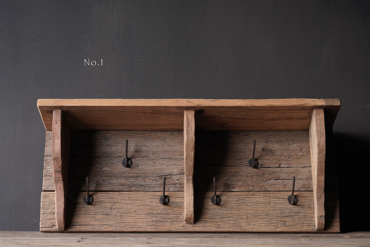 Coat rack / Wall console made of old used wood with iron hooks-2
