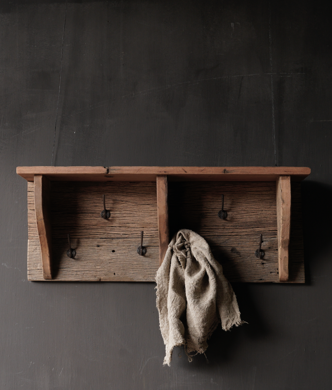 Coat rack / Wall console made of old used wood with iron hooks-6