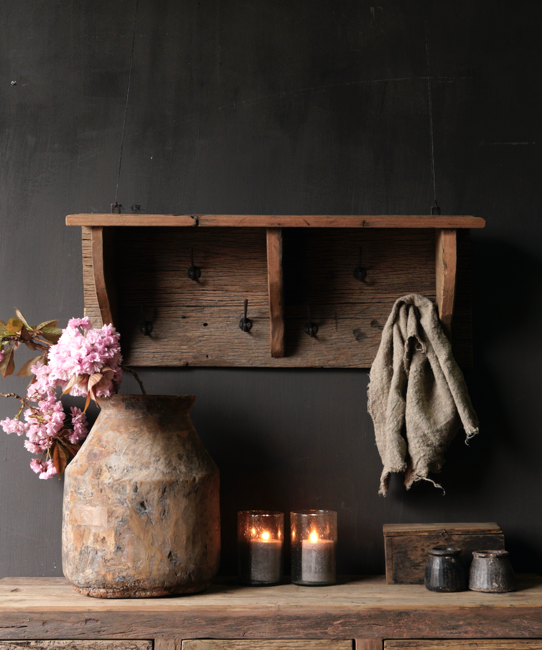 Coat rack / Wall console made of old used wood with iron hooks-1