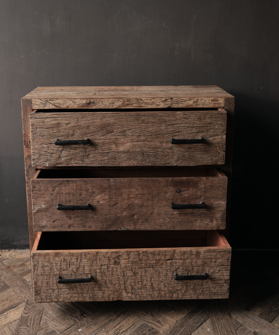 Robuust Oud houten lade kastje-3