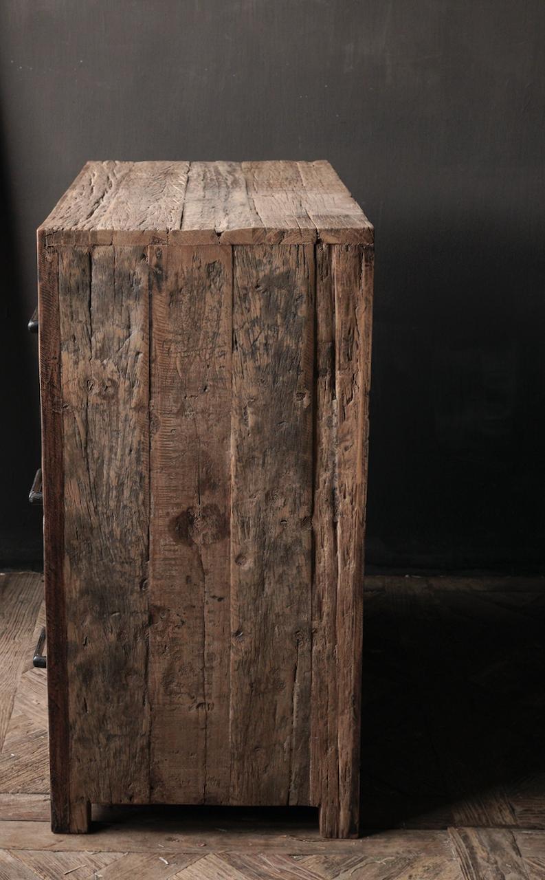Robuust Oud houten lade kastje-5