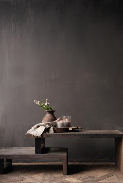 Tv meubel / Salontafel  van oud hout met ijzeren pootjes (Uittrekbaar )