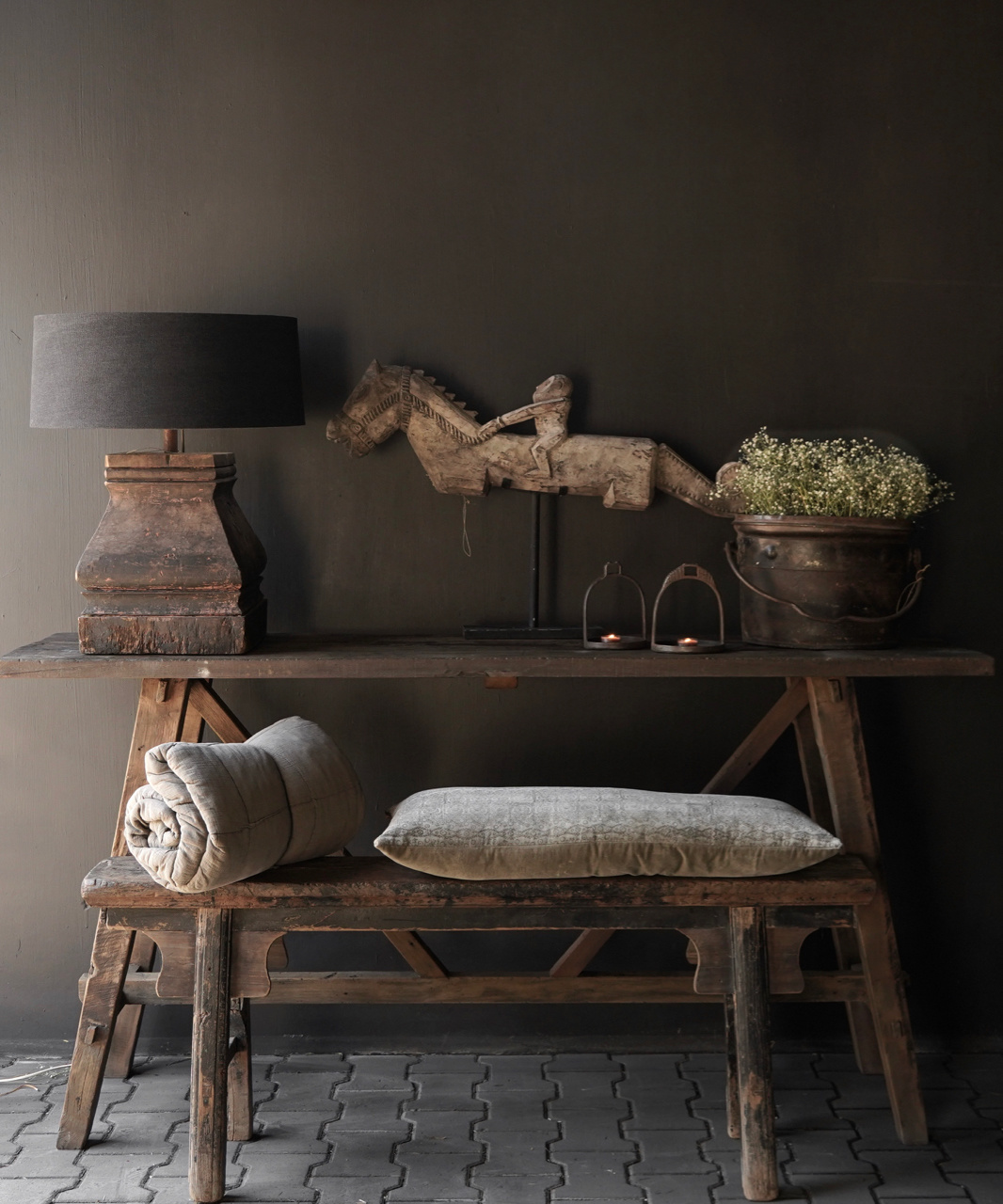 Tough old wooden wall table / side table-2