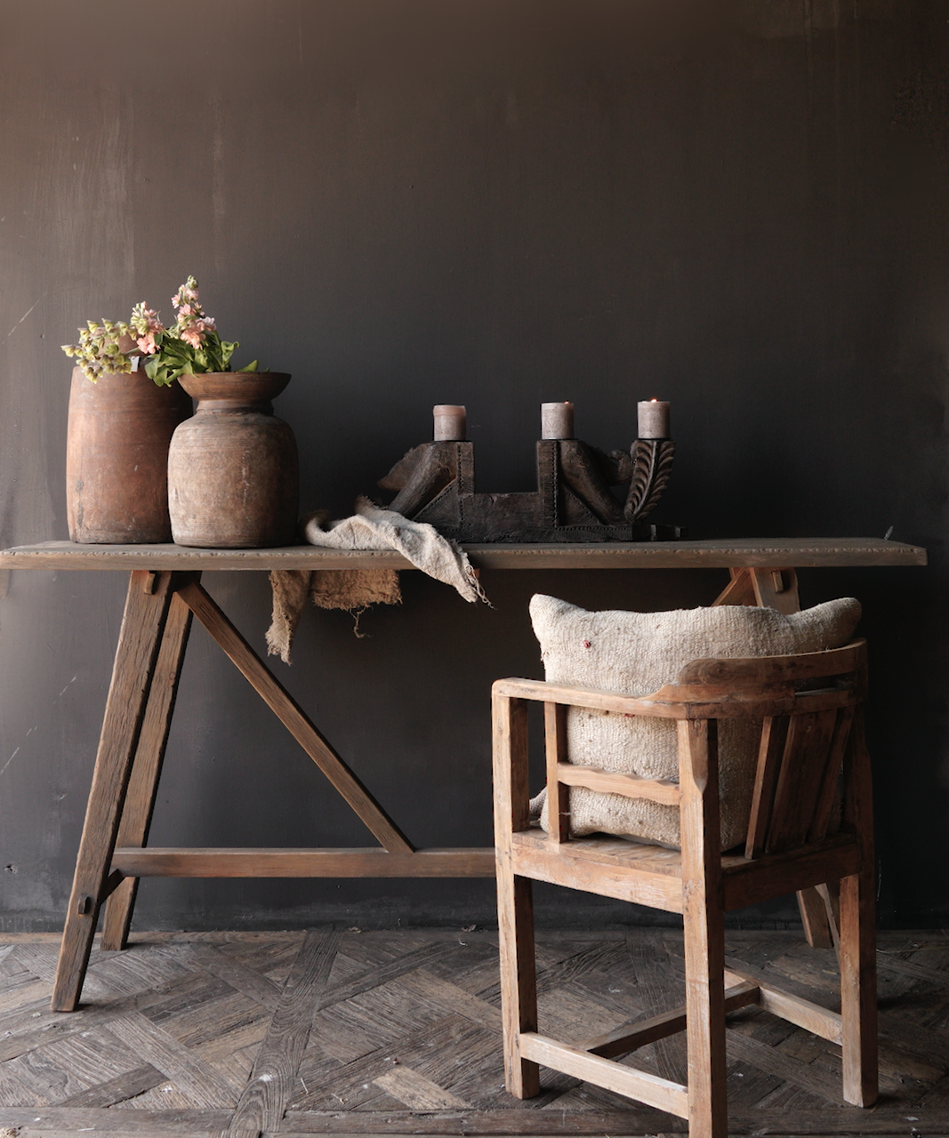 Tough old wooden wall table / side table-1