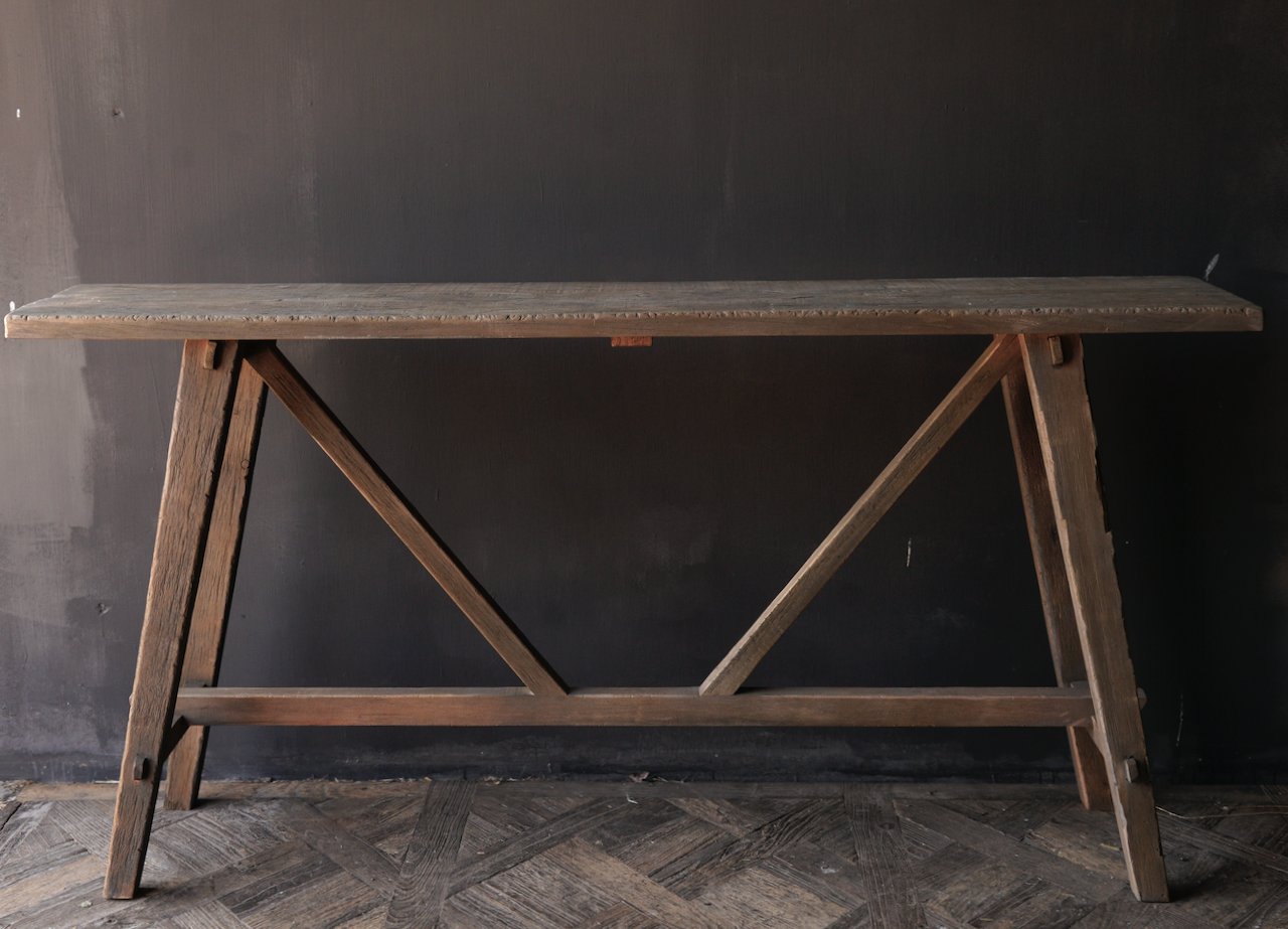 Tough old wooden wall table / side table-3
