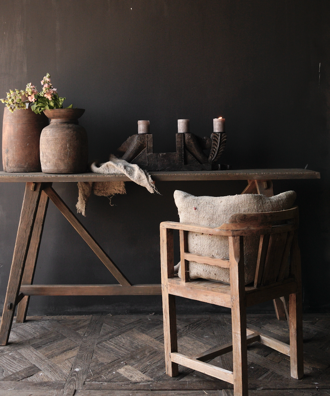 Tough old wooden wall table / side table-6