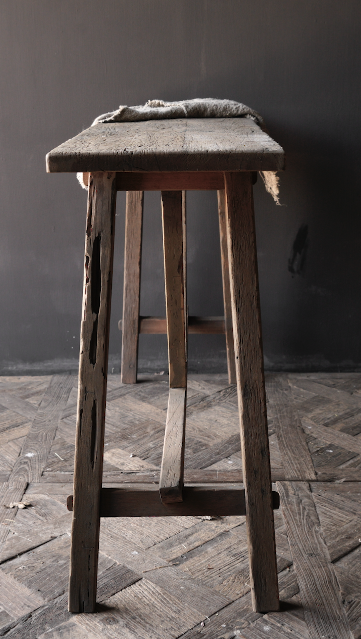Tough old wooden wall table / side table-7
