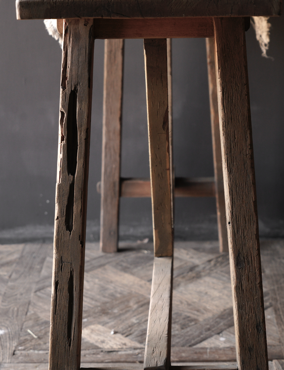 Tough old wooden wall table / side table-8