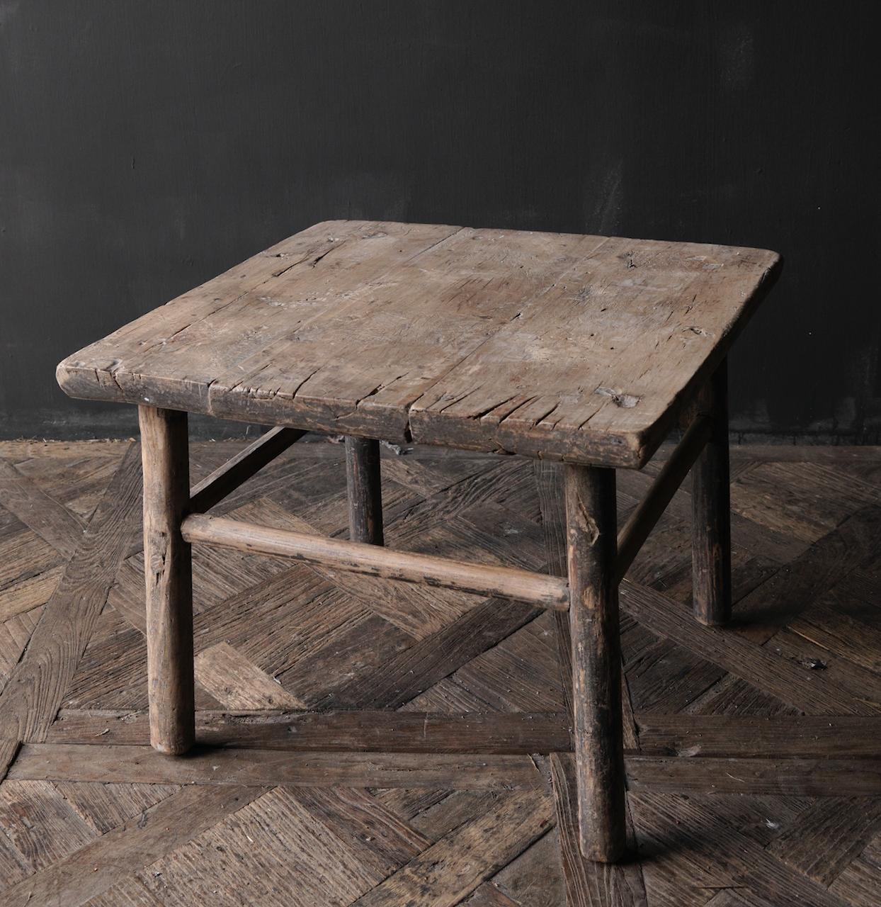 Oud Authentiek houten Salon/bijzet Tafeltje vierkant Uniek item-5