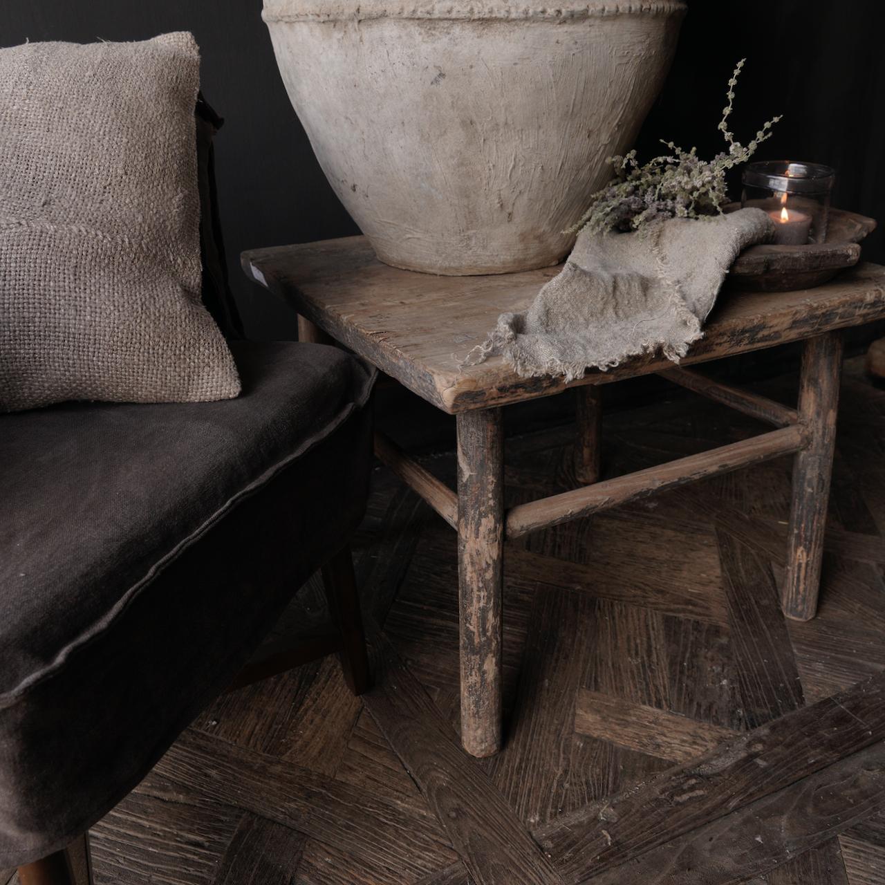 Oud Authentiek houten Salon/bijzet Tafeltje vierkant Uniek item-8