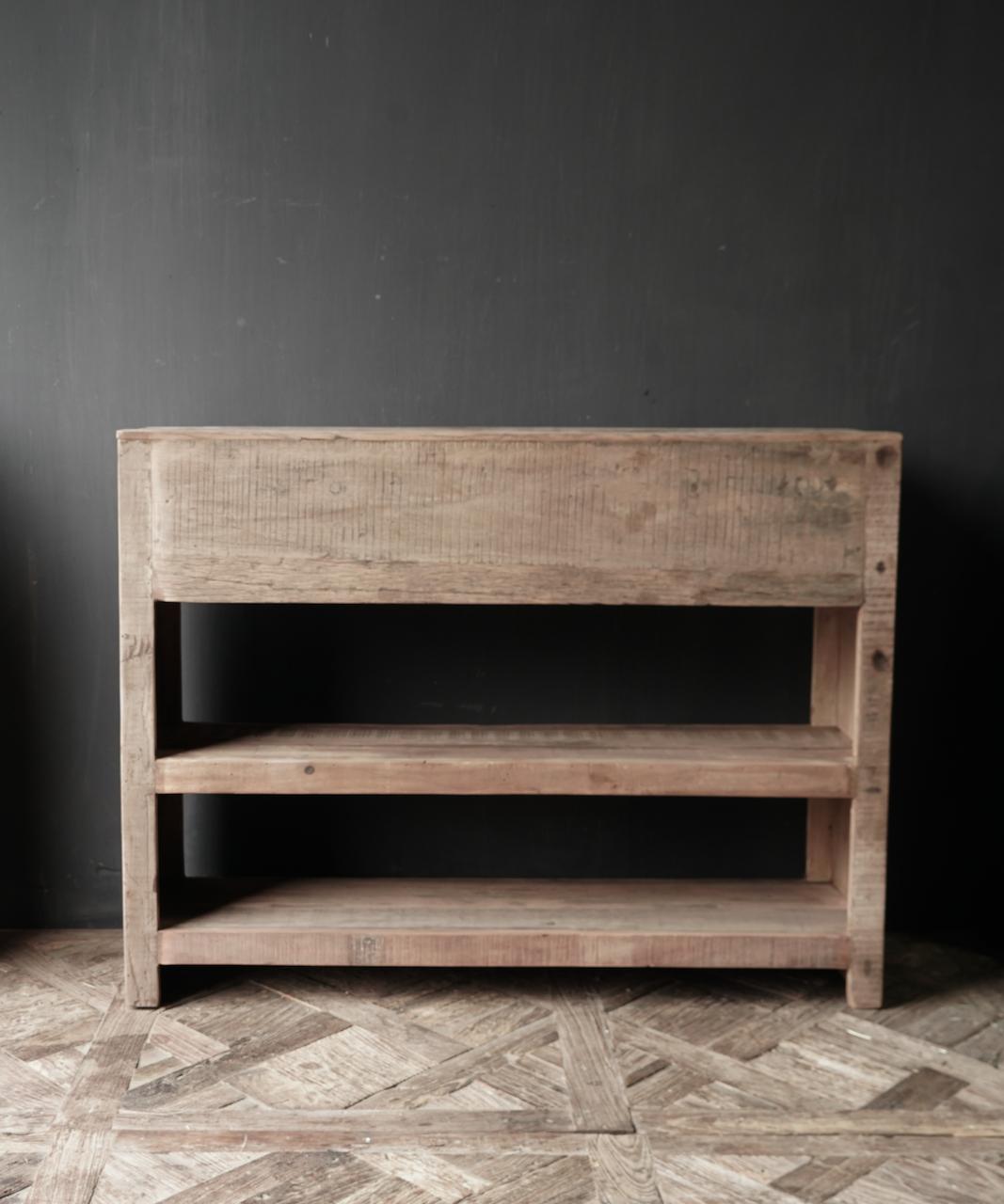 Robuster alter alter Holzwandtisch / Beistelltisch mit Schubladen-3