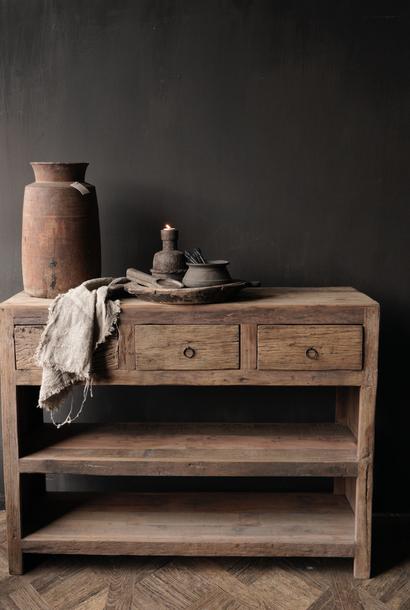 Robuster alter alter Holzwandtisch / Beistelltisch mit Schubladen