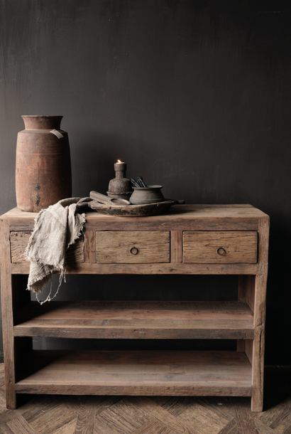 Tough robust old wooden wall table / side table with drawers