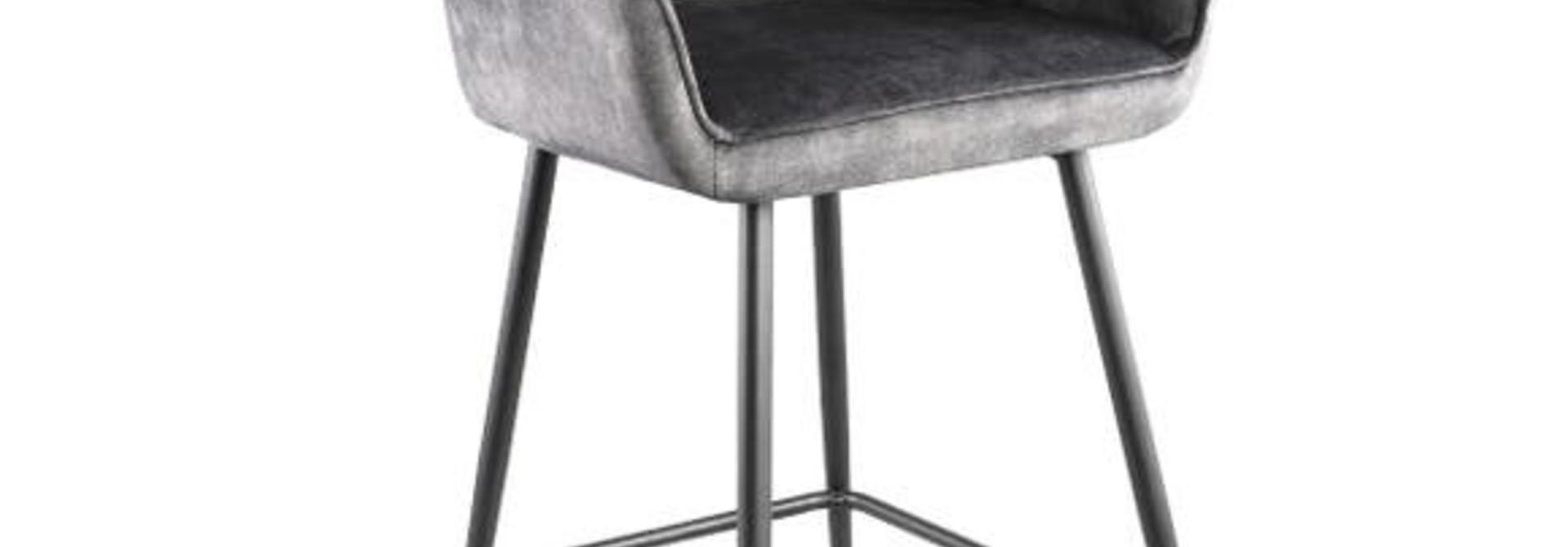 PTMD Barstoel Fallon Velvet zwart metalen frame