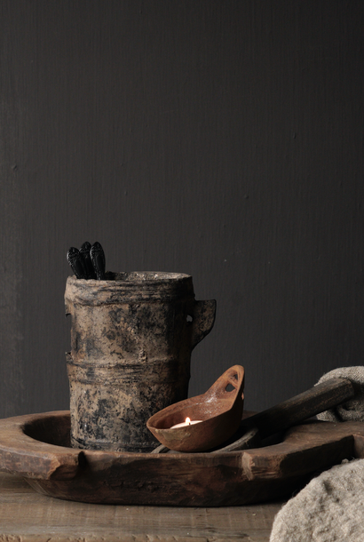Small very old wooden kitchen pot
