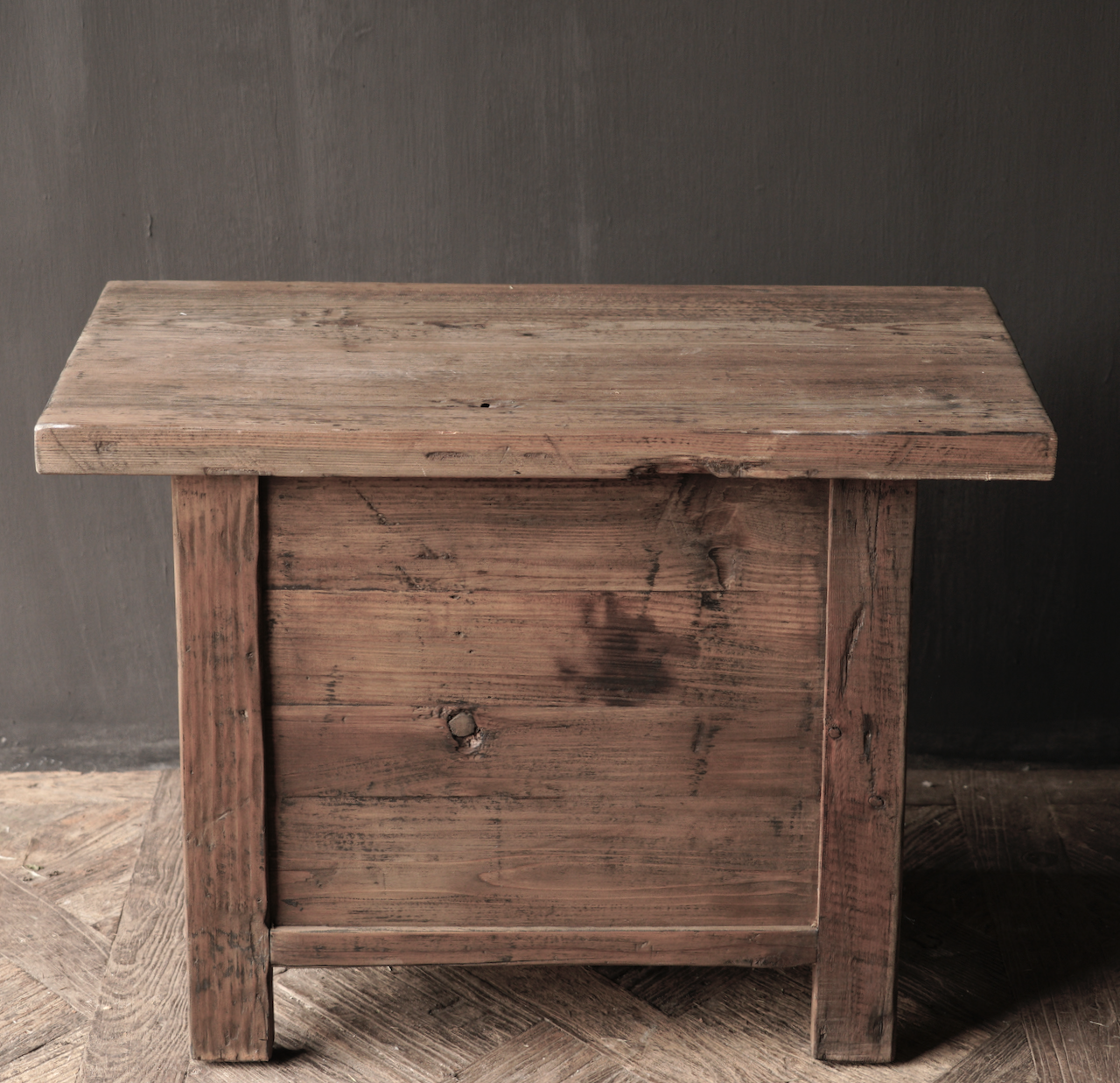 Old driftwood wooden cabinet or bedside table with drawer-5