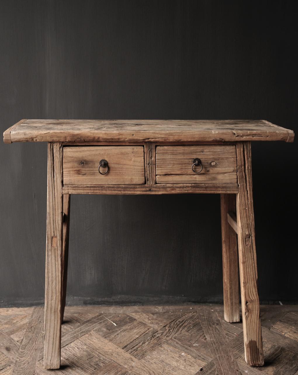 Authentischer einzigartiger alter schmaler Beistelltisch / Wandtisch-2