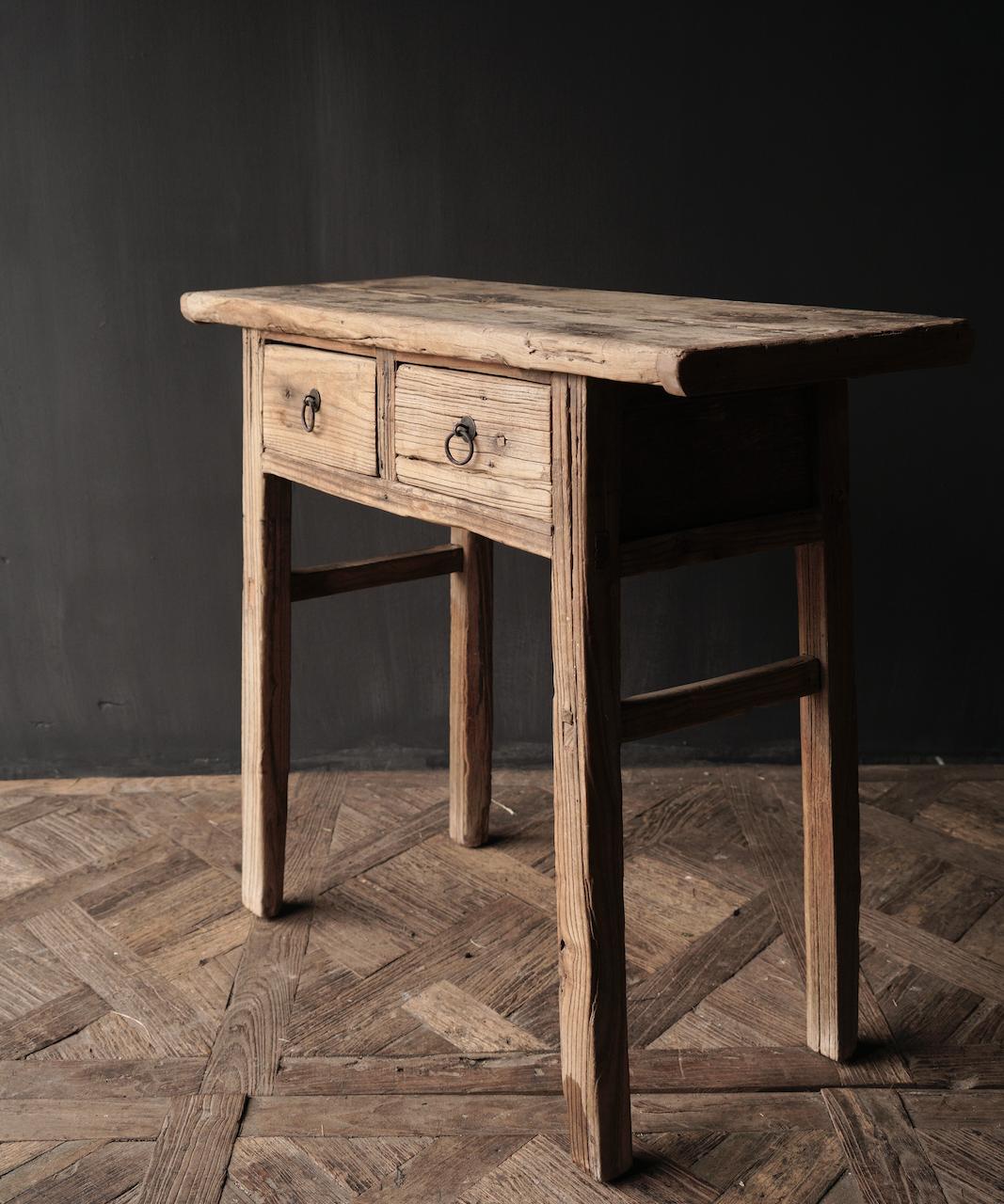 Authentischer einzigartiger alter schmaler Beistelltisch / Wandtisch-3