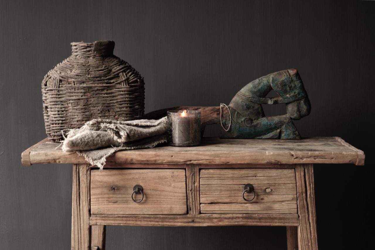 Authentischer einzigartiger alter schmaler Beistelltisch / Wandtisch-5