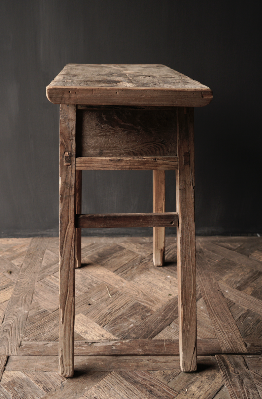 Authentischer einzigartiger alter schmaler Beistelltisch / Wandtisch-6