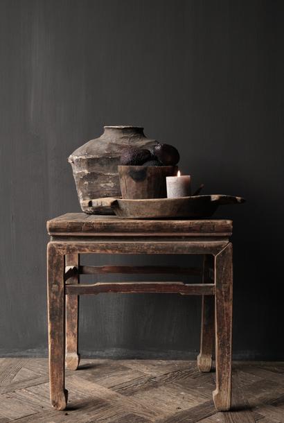 Oud Authentiek houten Salon/bijzet Tafeltje vierkant Uniek item
