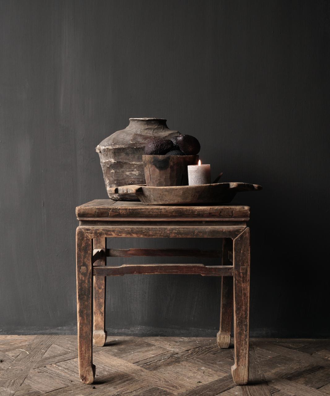 Oud Authentiek houten Salon/bijzet Tafeltje vierkant Uniek item-1