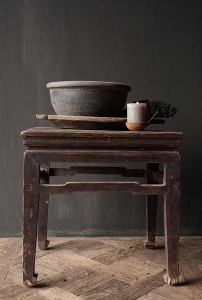 Old Authentic wooden Salon / side table square Unique item