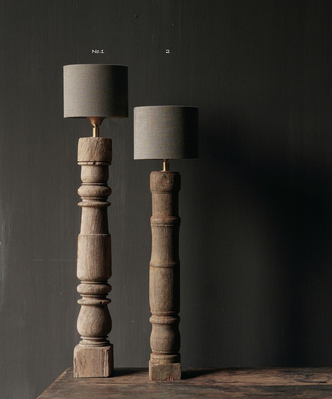 Prachtig Oude Houten Baluster lamp voet-2