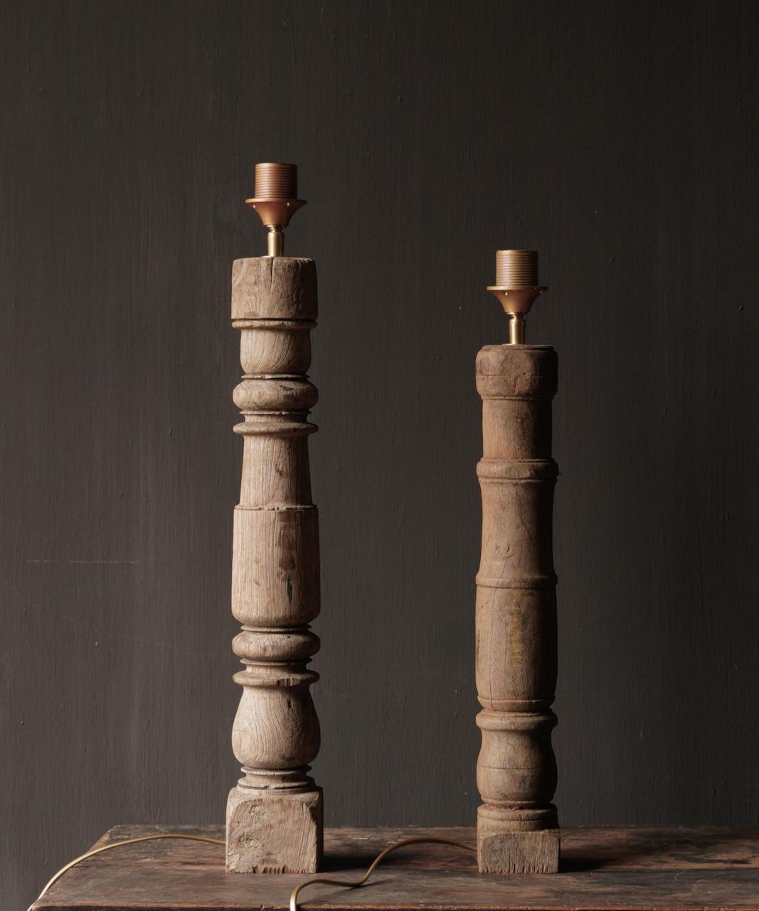 Prachtig Oude Houten Baluster lamp voet-3