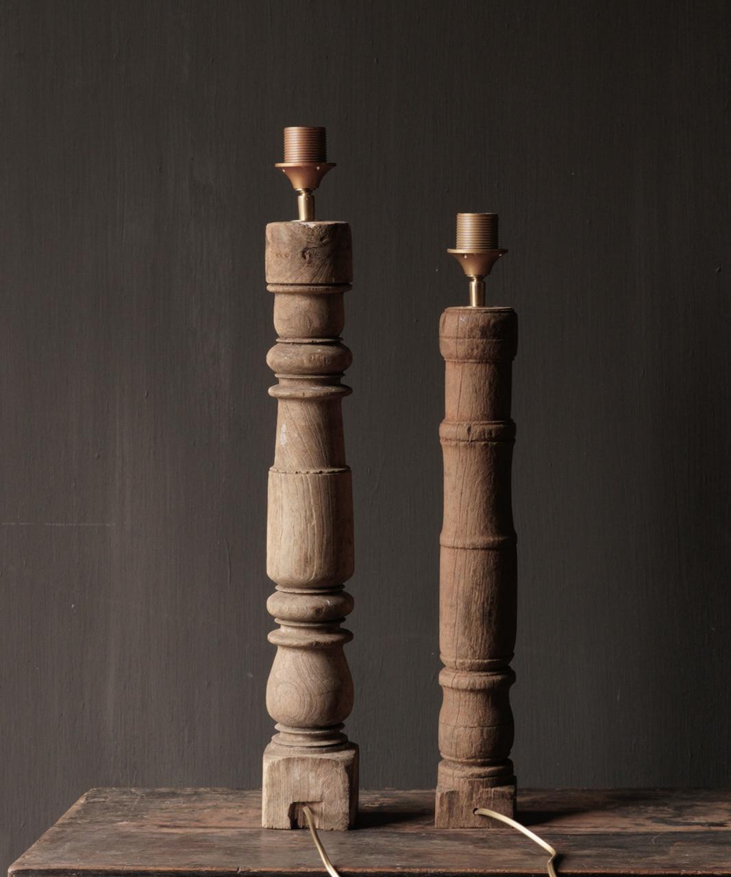 Prachtig Oude Houten Baluster lamp voet-4