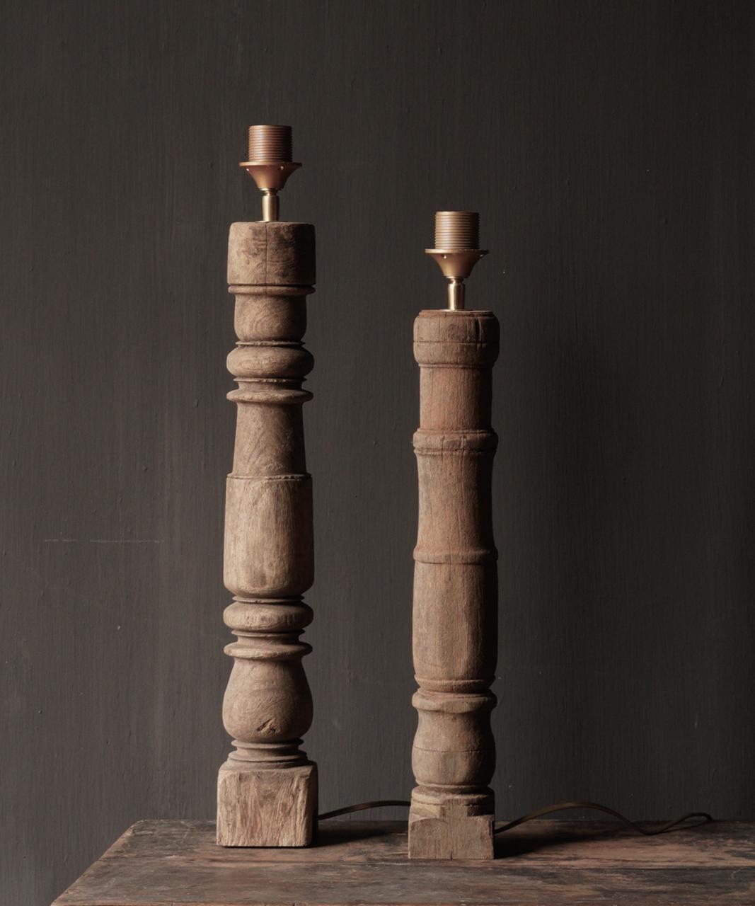 Prachtig Oude Houten Baluster lamp voet-5
