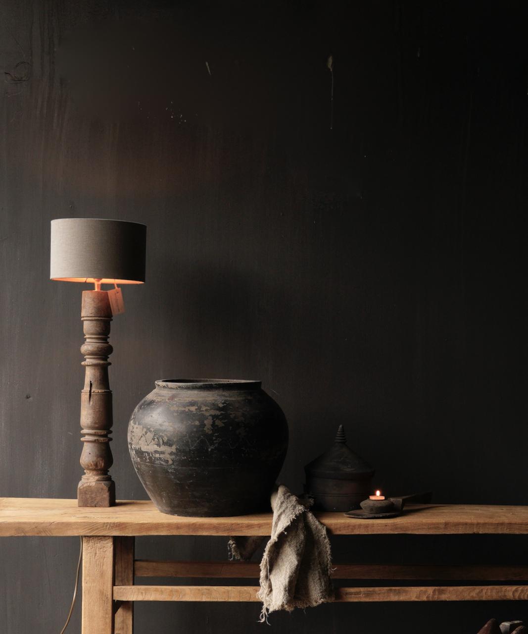 Prachtig Oude Houten Baluster lamp voet-6