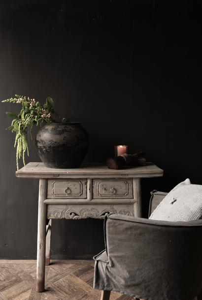 Authentiek Uniek oude muurtafel/Side table / Badmeubel met lades