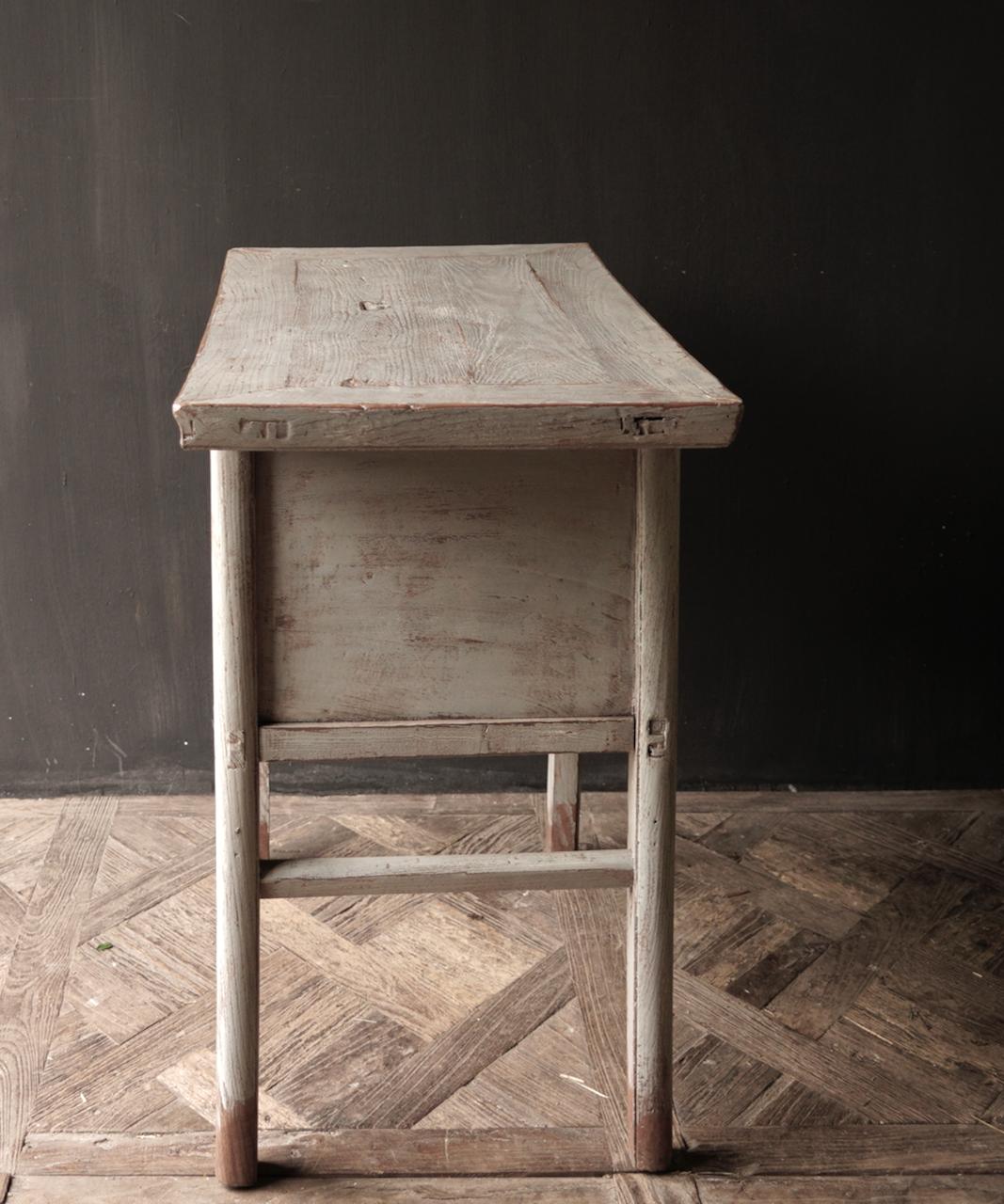Authentisch Einzigartiger alter Wandtisch / Beistelltisch / Badezimmermöbel mit grau lackierten Schubladen-4