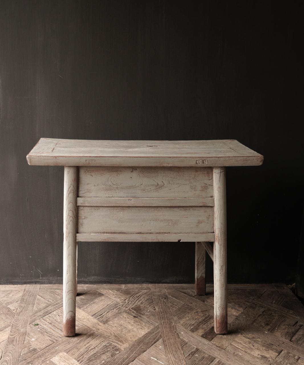 Authentisch Einzigartiger alter Wandtisch / Beistelltisch / Badezimmermöbel mit grau lackierten Schubladen-5