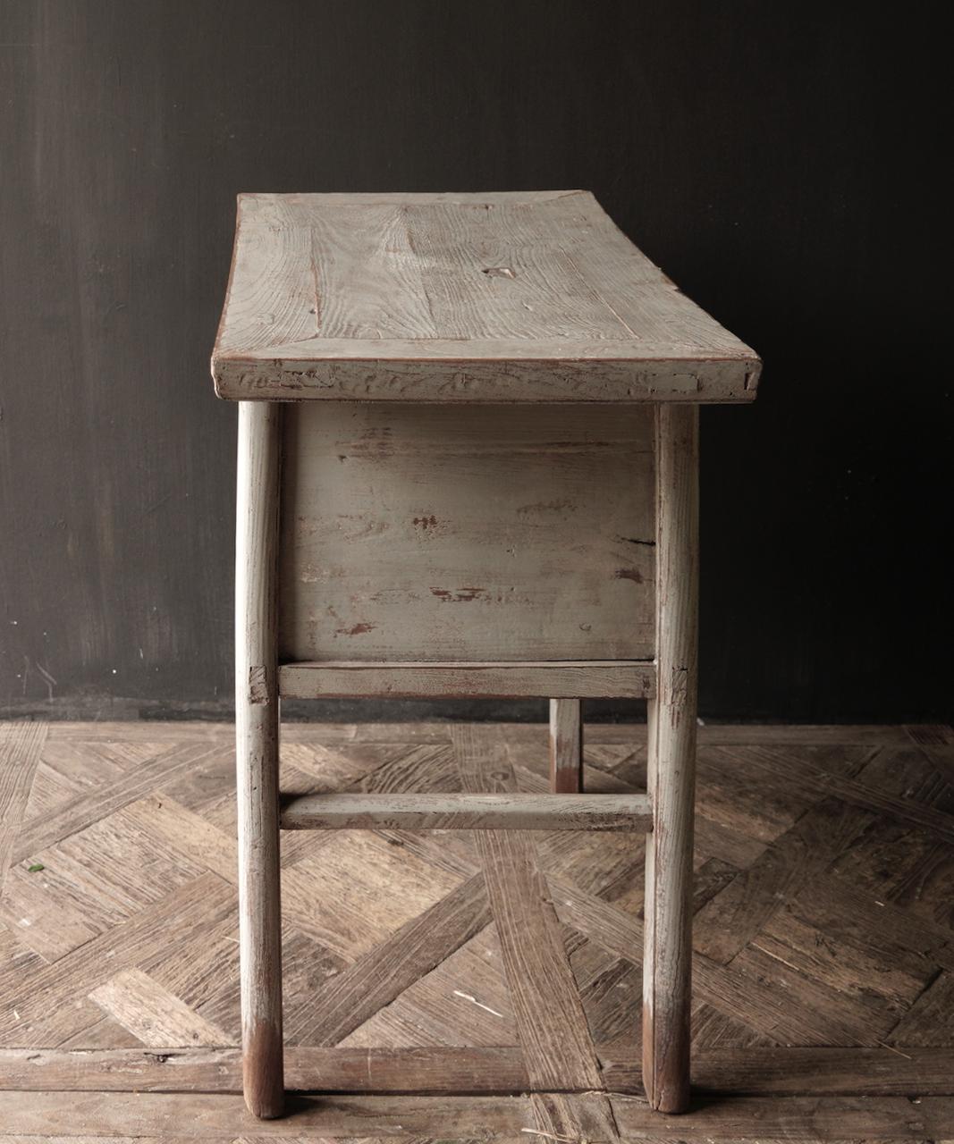 Authentisch Einzigartiger alter Wandtisch / Beistelltisch / Badezimmermöbel mit grau lackierten Schubladen-6