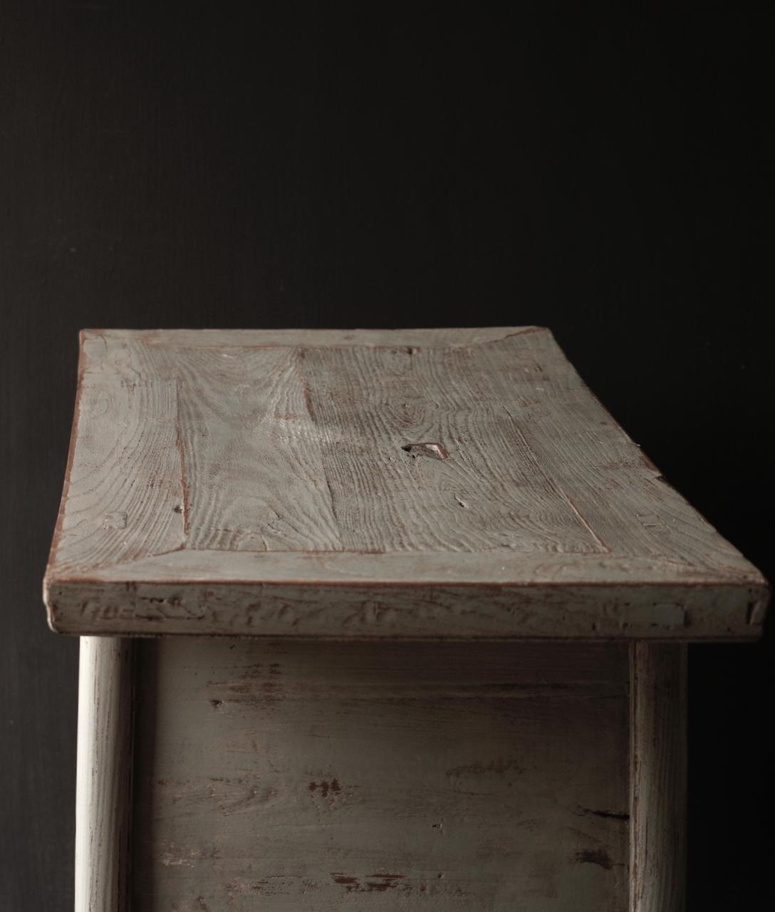 Authentisch Einzigartiger alter Wandtisch / Beistelltisch / Badezimmermöbel mit grau lackierten Schubladen-7