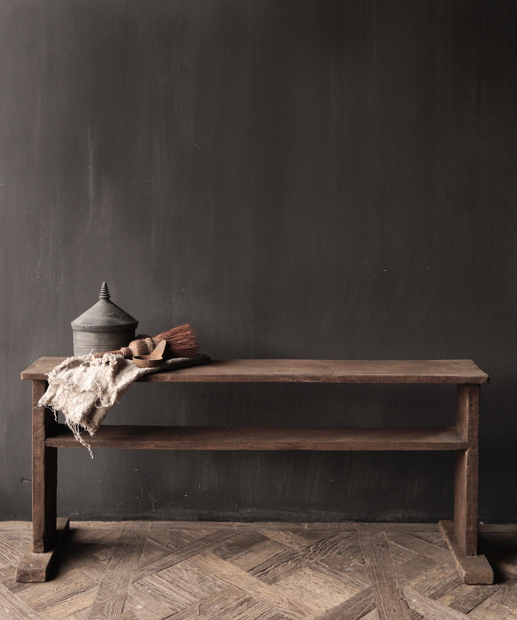 Old wooden bench with bottom shelf-1