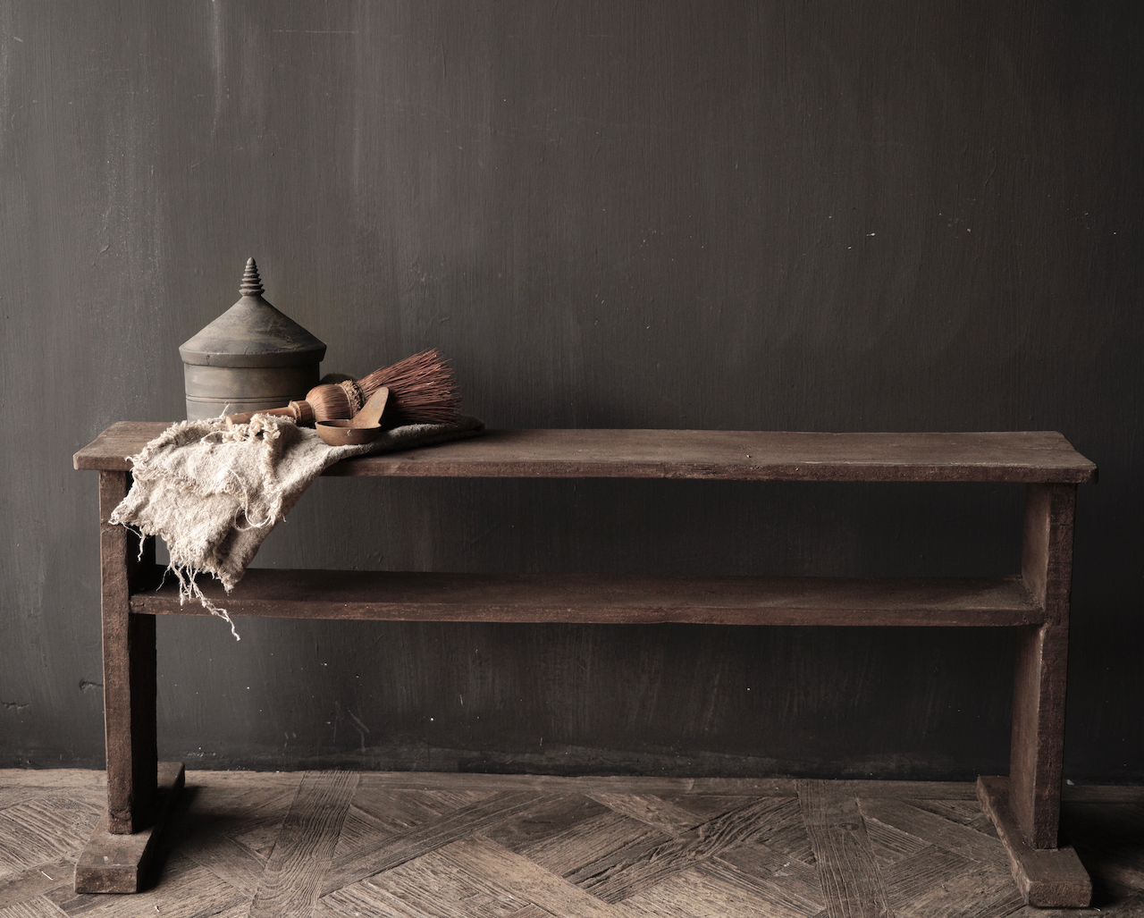 Old wooden bench with bottom shelf-2