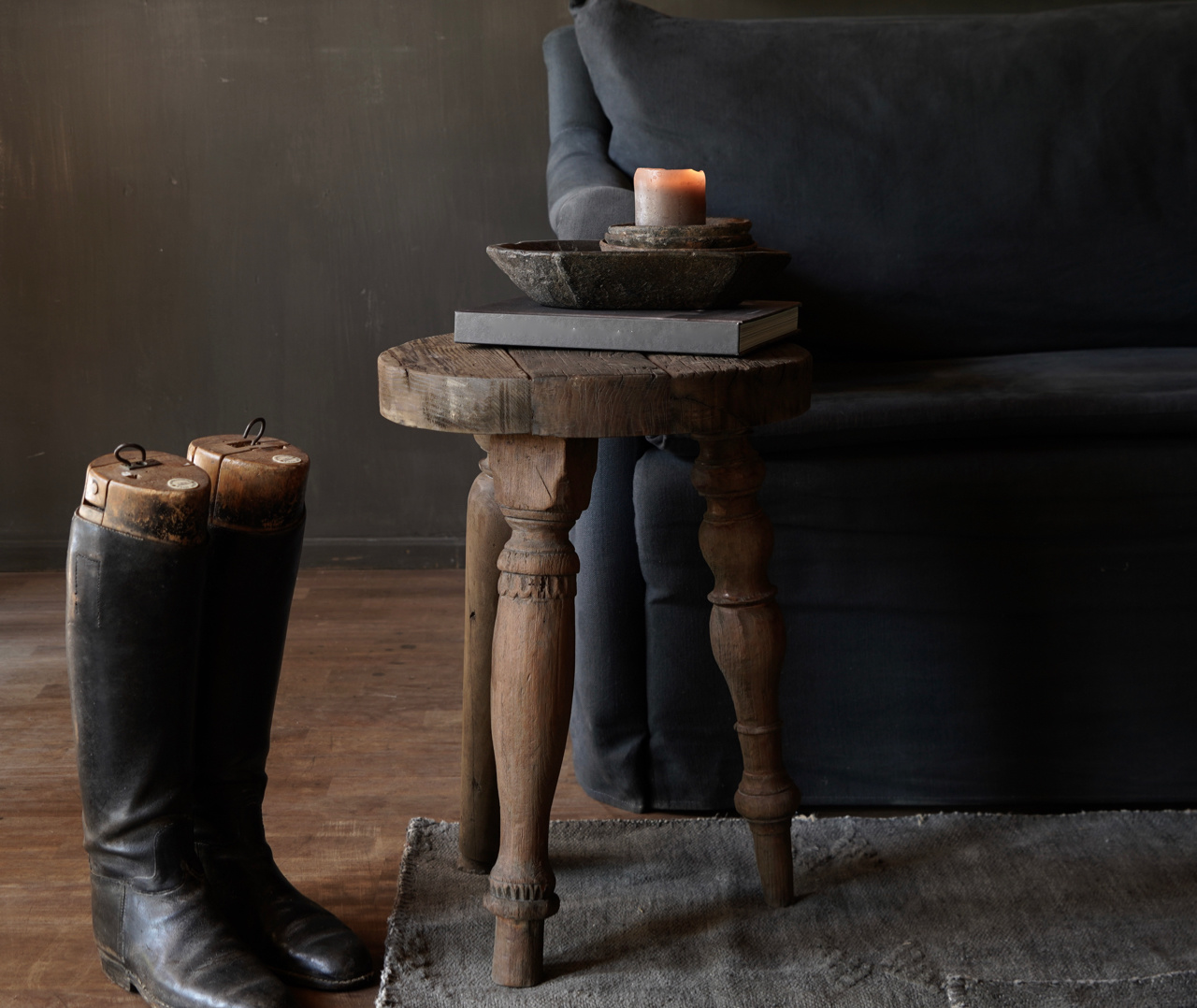 Unique round sturdy wooden side table with different legs-1