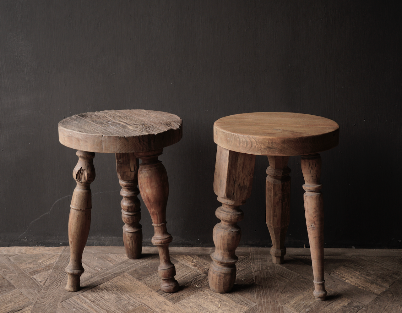 Unique round sturdy wooden side table with different legs-4