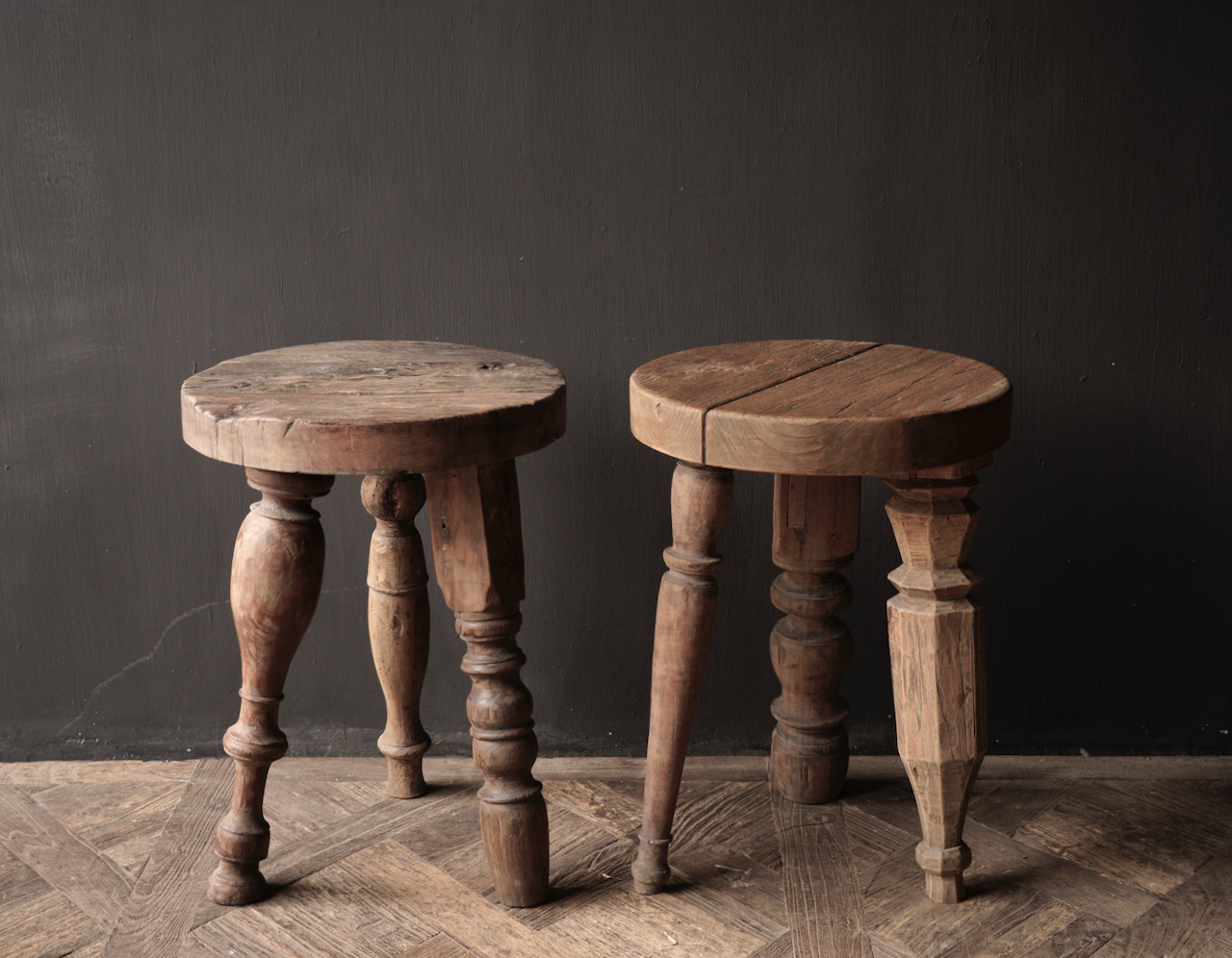 Unique round sturdy wooden side table with different legs-6