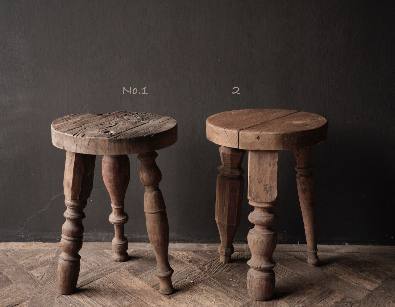 Unique round sturdy wooden side table with different legs-3