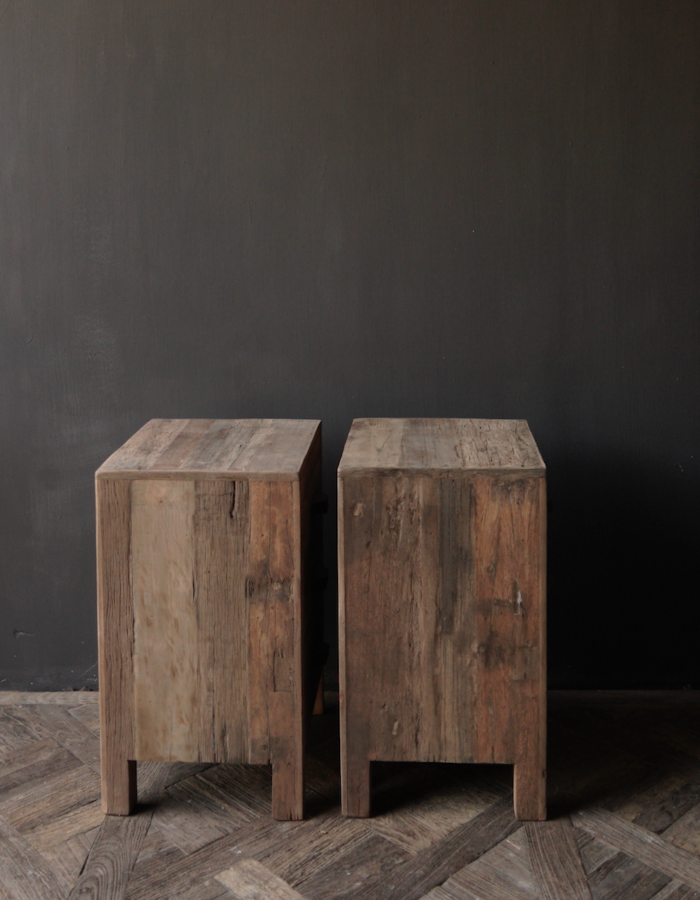 Oud driftwood houten kastje   oftewel nachtkastje met lades-4