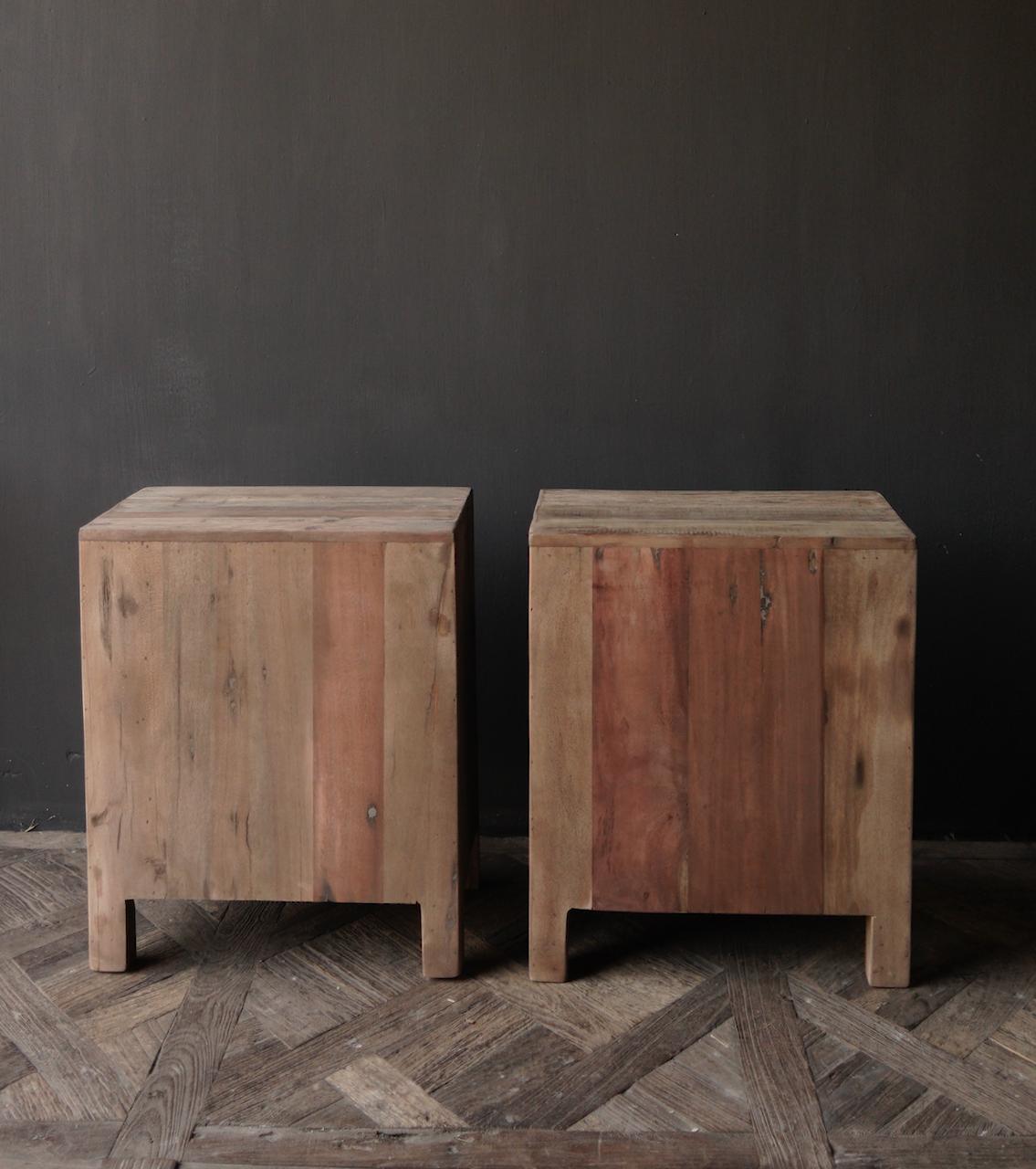 Oud driftwood houten kastje   oftewel nachtkastje met lades-5
